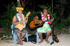 Music of Polynesian Pacific Island in Aitutaki Lagoon Cook Islan Royalty Free Stock Photo
