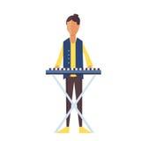 Music pop or rock guitarist. Singer cartoon boy flat illustration. Stock Photos