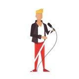 Music pop or rock guitarist. Singer cartoon boy flat illustration. Royalty Free Stock Images