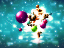 Music poser with colorful balls. Abstract colorful musical poser with colorful balls and 3d girl Royalty Free Stock Photos