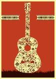 music poster 吉他概念由民间装饰品制成 也corel凹道例证向量 皇族释放例证