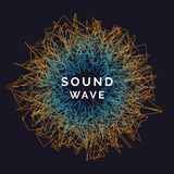 music poster 导航与的抽象背景色的动态波浪 库存例证