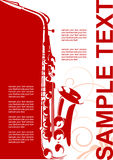 Music poster. A musical background with a saxophone. Vector illustration for use as a filer or poster Royalty Free Stock Images