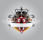 Music poster. Poster with crown, tape and loudspeaker stock illustration