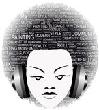 Music poster. Vector illustration of a woman listening to music on headphones Stock Image