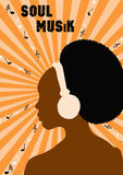 Music poster. Woman listening to soul music on headphones Stock Image