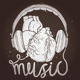 Music Poster With Anatomical Heart And Headphones On Chalkboard Stock Photo