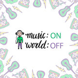 Music poster with boy and handwritten lettering. Vector illustration. Music on, world off Royalty Free Stock Photo
