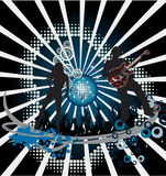 Music poster. DJ. Music poster.Abstract party poster with disco ball; DJ. Easy to edit/move.Vector Royalty Free Stock Image