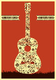 Music poster. Guitar concept made of folk ornament. Vector illustration. Royalty Free Stock Photography