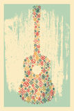 Music poster. Guitar concept made of folk ornament. Vector illustration. Stock Image