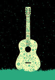 Music poster. Guitar concept made of folk ornament. Vector illustration. Stock Photography