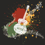 Music Poster with Guitar Stock Photo