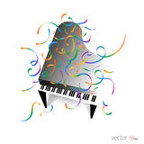 Music poster - Piano with confetti / Music Background Royalty Free Stock Images