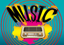 Music. Poster with retro radio and abstract background Royalty Free Stock Photos