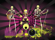 Music poster;Skeleton. Rock festival band.Easy to edit/move.Vector Stock Image