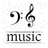 Music poster with treble and bass clef Stock Photos