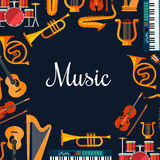 Music poster. Wind and strings musical instruments Stock Photography