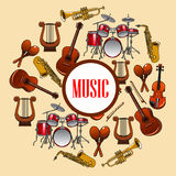 Music poster. Wind and strings musical instruments Royalty Free Stock Image