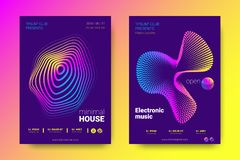 Music Posters with Equalizer and Wave Colorful Distorted Lines. stock illustration