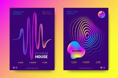 Music Posters with Equalizer and Wave Colorful Distorted Lines. vector illustration