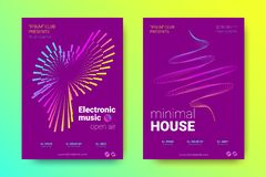 Music Posters Set with Wave Lines and Distortion. royalty free illustration
