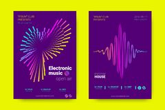 Music Posters with Wave Lines and Distortion. royalty free illustration