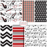 Seamless Background Patterns - Music Prints Royalty Free Stock Photos