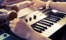 Music producer is working on home studio royalty free stock photos