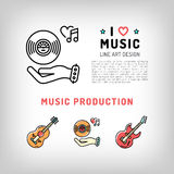 Music production and producing, vinyl record, guitar icons Stock Photos
