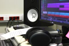 The Music Production studio with Keyboard Headphones