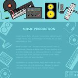 Music production. Vector music production template, layout. Speaker laptop headphones microphone amplifier plate synthesizer icons royalty free illustration