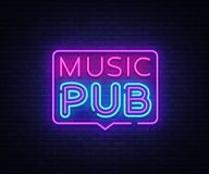 Music Pub neon sign vector. Live Music design template neon sign, light banner, neon signboard, nightly bright Stock Photography