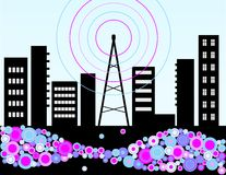Music radio and the city Stock Photo