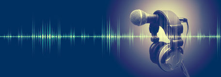 Music and radio concept banner. Studio microphone and sound waves.Sound engineering and karaoke background Stock Images