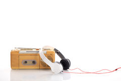 Music radio and white headphone Royalty Free Stock Photography