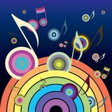 Music Rainbow. Rainbow, from which fly colorful music vector illustration