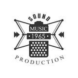 Music Record Studio Black And White Logo Template With Sound Recording Retro Mic Silhouette Stock Image