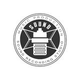Music Record Studio Black And White Logo Template With Sound Recording Retro Microphone Silhouette Stock Images