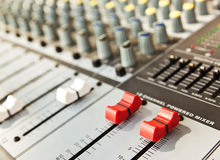 Music Recording Powered  Mixer Stock Photo