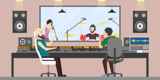Music recording studio. Music band with drums and singer records new song. Song producers Stock Image
