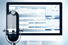 Music Recording Studio Concept. Condencer Microphone Royalty Free Stock Images