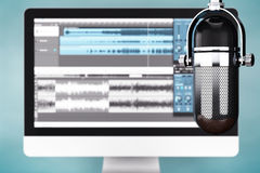 Music Recording Studio Concept. Condencer Microphone Stock Images