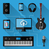 Music recording studio concept. Flat design Royalty Free Stock Photography
