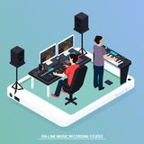 Production Music Isometric Composition. Music recording studio equipment isometric composition with two human characters recording music with pro audio devices vector illustration