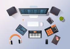 Music recording studio sound engineering concept top angle view desktop monitor piano audio mixer headphones pro. Equipment office stuff horizontal vector vector illustration