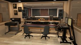 Music recording studio with sound mixer, instruments, speakers, and audio equipment, 3D render