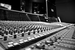 Recording studio table black and white. Music recording studio table close up black and white music photography Stock Photos