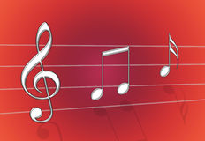 Music Red. Chrome metal steel music notes on red gradient background stock illustration