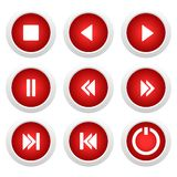 Music red buttons set for design Stock Photography